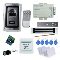 Full RFID Finger Scanner Lock System Access Control F007EM 180KG Magnetic Lock Power Supply Exit Button