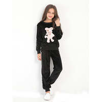 Girls Sportswear Cartoon Bear Embroidered Sweatwear Sports Style Two piece Causal Style Children clothing for 6T 8T 10T 12T 14T