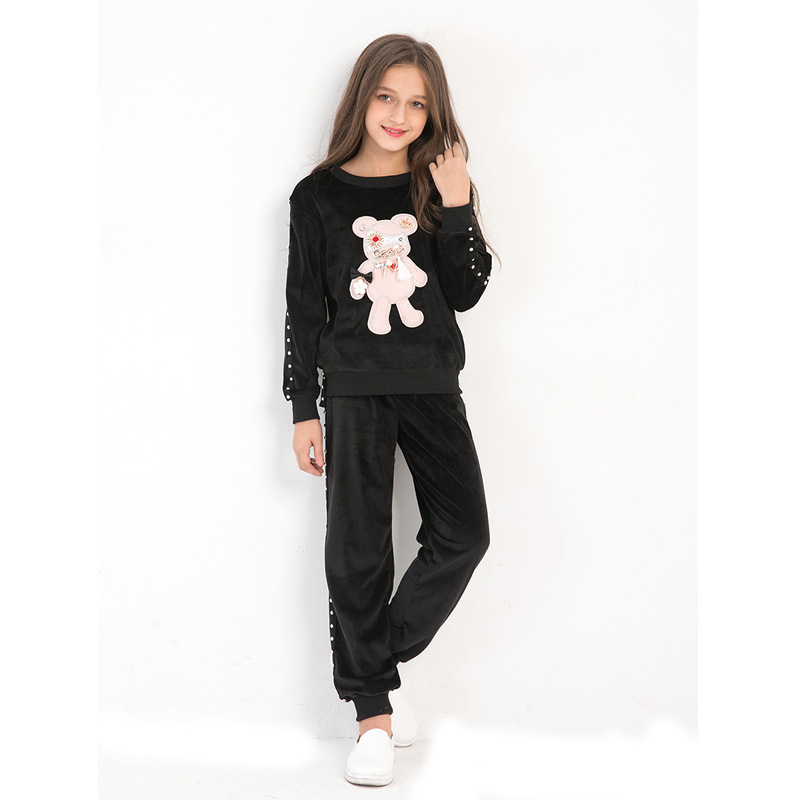 Girls Sportswear Cartoon Bear Embroidered Sweatwear Sports Style Two-piece Causal Style Children clothing for 6T 8T 10T 12T 14T cute cartoon bear style biscuit cookie cutter mold set white 4 piece pack