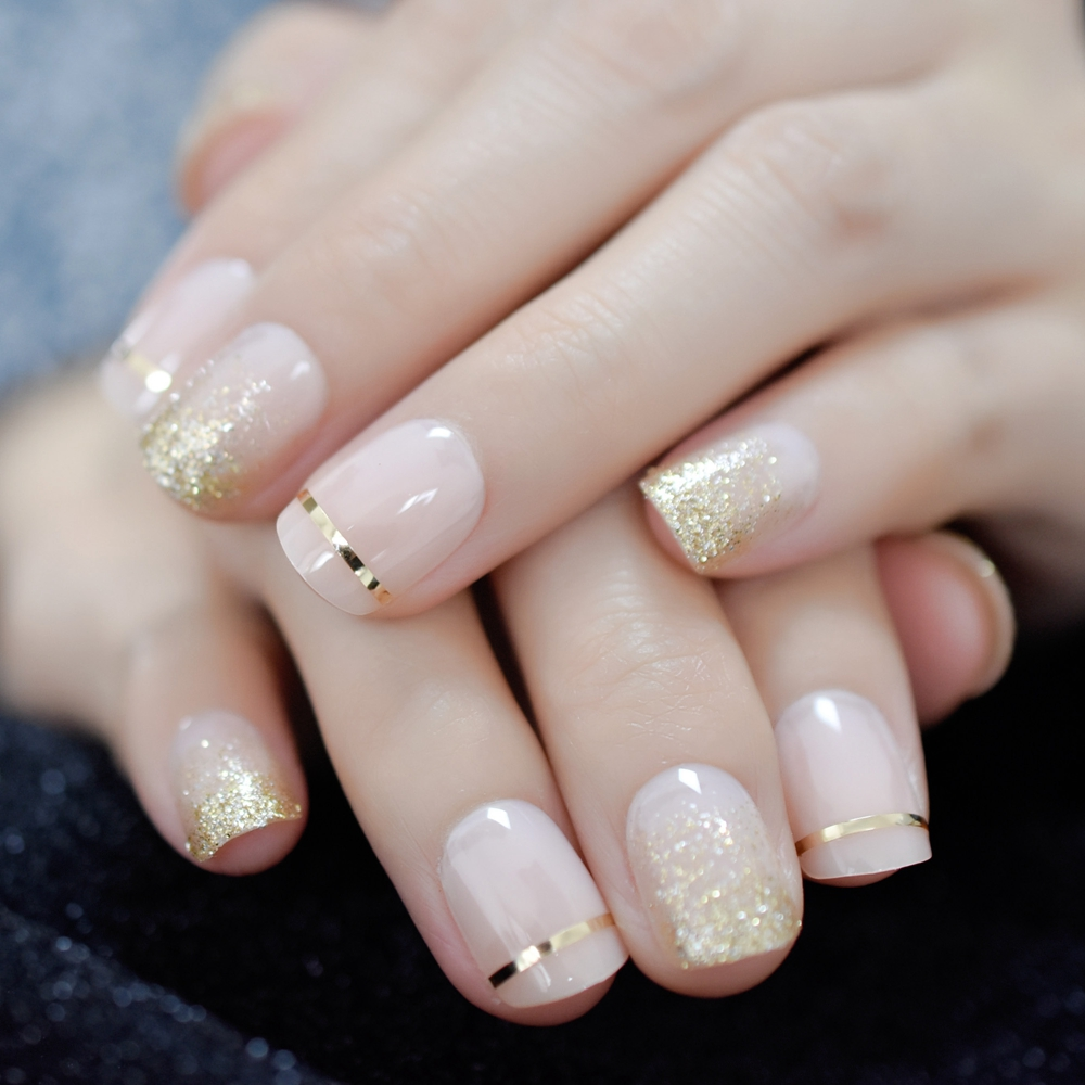 UV Gel Cover False Nails Gold Glitter Nude Ladi's Press On Fingernails Short With Adhesive Tabs Perfect For Daily