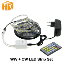 Double Color Led Strip Light 5025 / 2835 Cold White + Warm White 12V Strip 5M + CT Remote Controller +12V 3A Power Supply