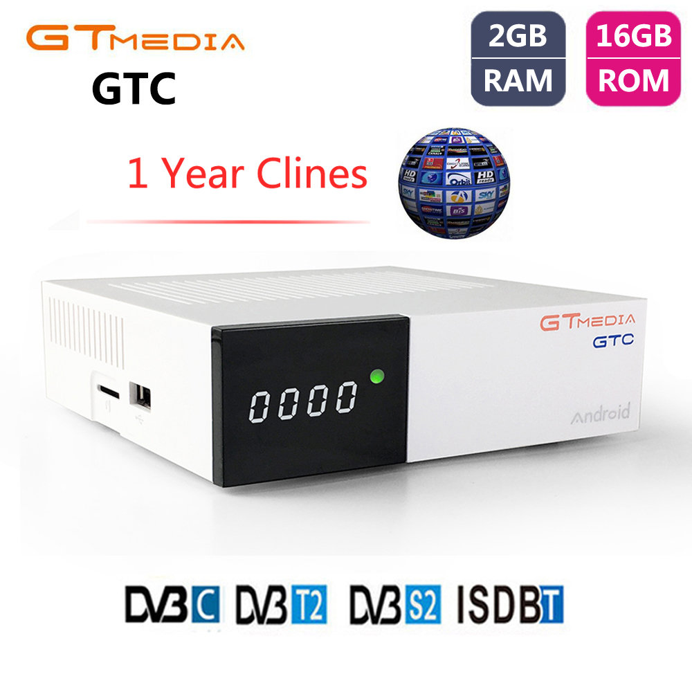 GTMEDIA GTC DVB-T2 DVB-S2 Satellite Receiver Smart Android 6.0 TV BOX Amlogic S905D ISDB-T DVB-C TV Turner+1 Year Cccam Receptor smart tv приставка rombica smart t2 v01 c dvb t2 тюнером sbq tv805