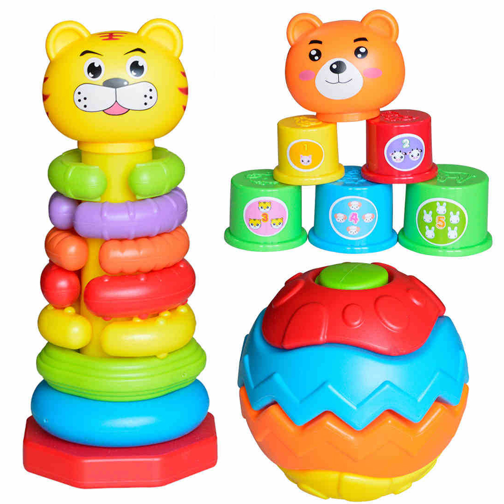 Educational Baby Toys DIY Stacking Ring Tower Layers Cartoon Animal Style Folding Colorful Stacked Cups Funny Toys