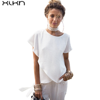 Short Sleeve White Chiffon Ruffles Blouse O Neck Women Casual Asymmetry Summer Blouses Shirts AG235