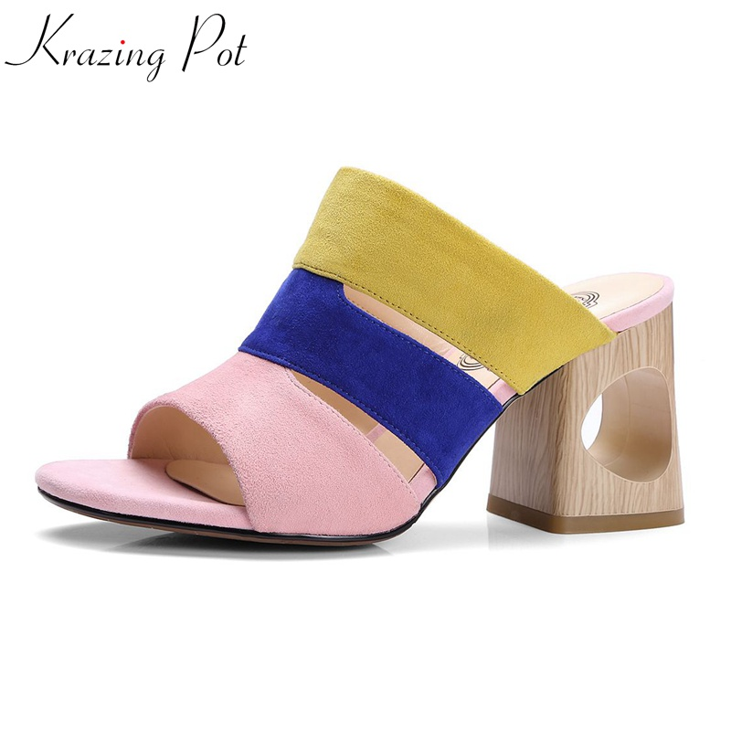 Krazing Pot vintage 2018 sheep suede fashion summer peep toe art fretwork heels luxury mules slip on colorful women sandals L75 krazing pot empty after shallow shoes woman lace work flats pointed toe slip on sheep suede causal summer outside slippers l16