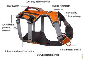 Image 5 - 중형 대형견 용 새 개 하네스 훈련 조끼 조절 가능한 강력한 야외 모험 여행 하네스 pitbull dropshipping 8816