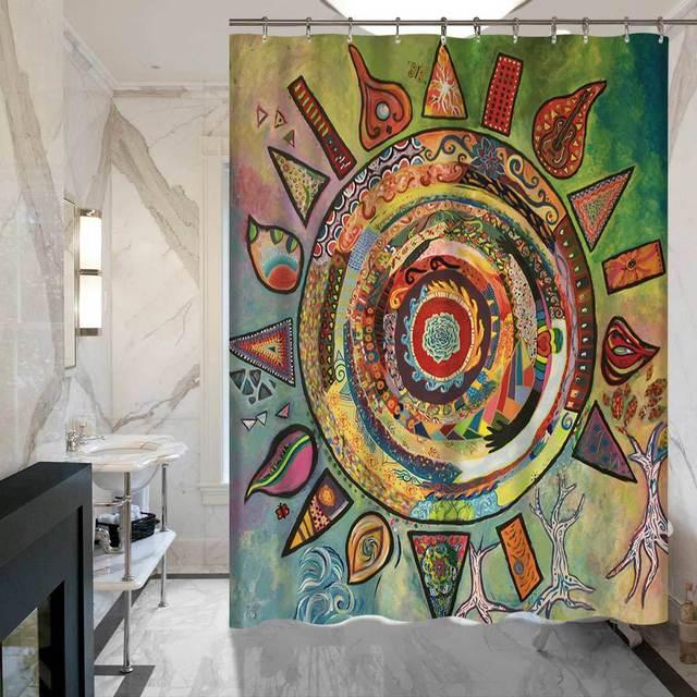 SunnyRain 1 Teilig Abstrakte Malerei Duschvorhänge Sun Moon Gedruckte Bad  Vorhang Wasserdicht Polyester Vorhang Für