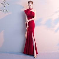 YOSIMI 2019 Evening Party Dress for Women Summer Sleeveless Halter One Shoulder Red Mermaid Maxi Elegant Long Slim Slit Dresses