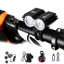 Waterproof Bike Light 2*T6 LED Bicycle Light 4 Modes MTB Road Front Cycling Headlight+ Safety Warning Red Laser Rear Lamp