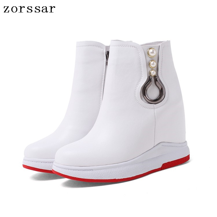 {Zorssar} winter womens snow boots Genuine Leather height increasing boots women high heel ankle boots Platform wedges shoes zorssar 2017 new winter female shoes suede platform height increasing ankle snow boots fashion buckle high heels women boots