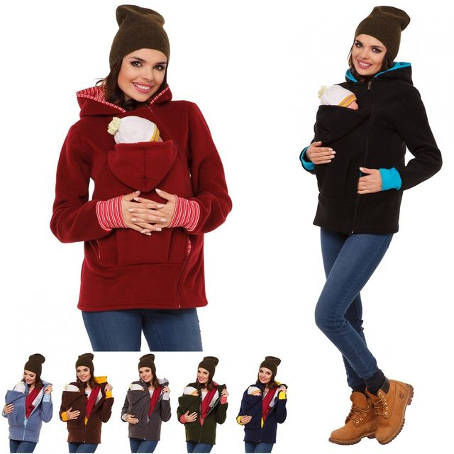 New Baby Carrier Jacket Kangaroo Winter Maternity Outerwear Coat for Pregnant Women Baby Carrier  Autumn Winter Hood Zipper Coat