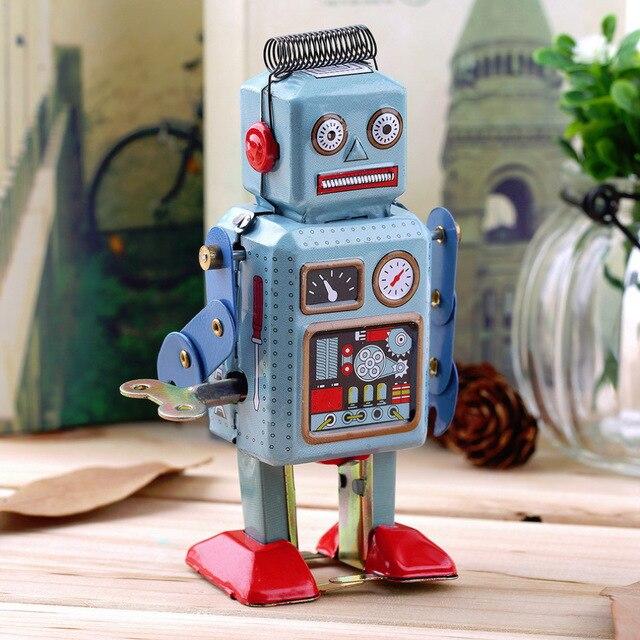 1 pc Vintage mécanique horloge liquidation métal marche Robot étain jouet enfants cadeau dans le monde entier vente chaude
