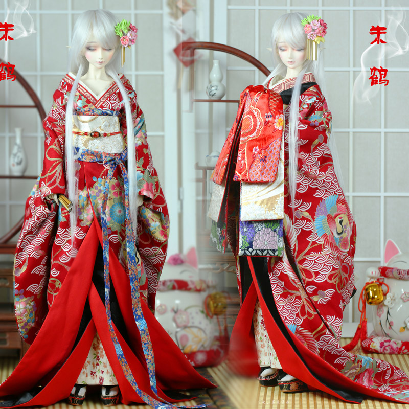 цены Japanese Style gentle wind Red crane crane Sea wave Kimono 1/3 1/6 SD YOSD BJD Doll Clothes