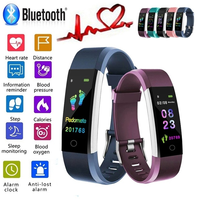 "Smart Wristband Fitness Bracelet Band 0.96"" Touch Screen LCD Message Heart Rate Time Smartband IP67 Waterproof Wrist Band"
