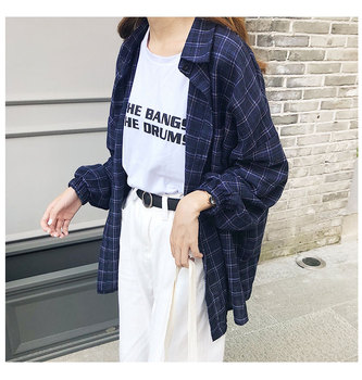 2019 New Woman Vent Vintage Plaid Shirt Single Breasted Turn down Collar Cotton Long Sleeve Button Feminina Sales T8D512Z 3