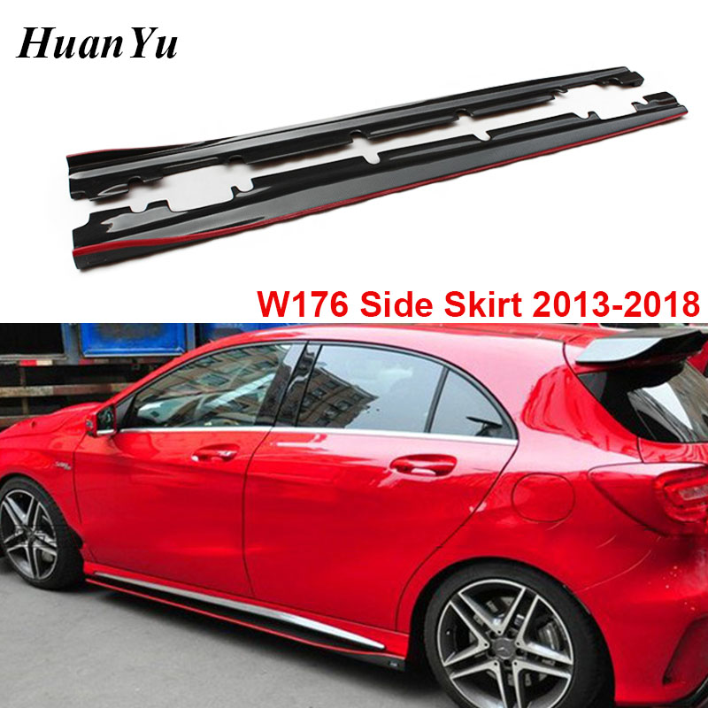 W176 W117 Carbon Fiber R Style Side Skirt for Mercedes-benz A & CLA Class A180 <font><b>A200</b></font> A45 CLA45 <font><b>AMG</b></font> Package 2013-2018 image