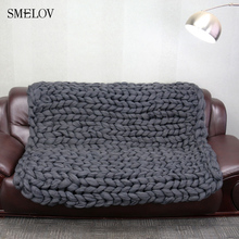merino wool Chunky Knitted Blanket Winter warm thick Yarn Bulky Knitting blankets Handmade large big sofa bed weighted blanket