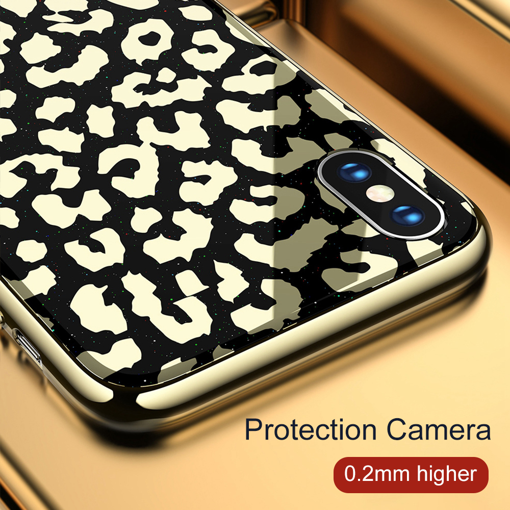 Image 3 - OTAO New Plating Glass Leopard Print Case For iPhone 7 8 Plus 6 6S Soft TPU Edge Case For iPhone X XS MAX XR Hard PC Cover Coque-in Fitted Cases from Cellphones & Telecommunications