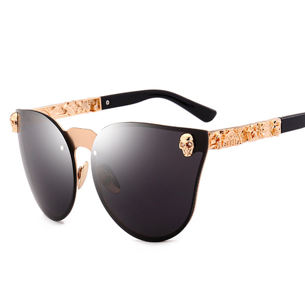 Vintage Sonnenbrille Frauen Männer Gothic Brillen Schädel Rahmen Metall Tempel Feminino Sonnenbrille Oculos de sol UV400