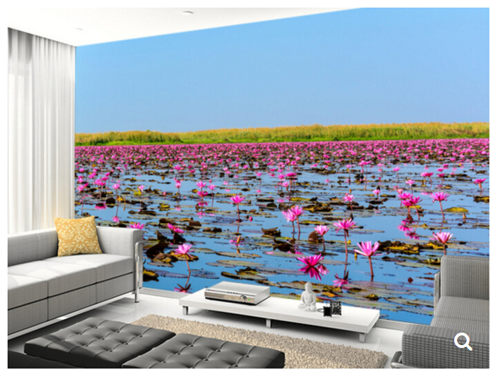 Custom natural landscape wallpaper,Sea of Pink Lotus,3D modern photo for living room bedroom kitchen waterproof wallpaper custom green forest trees natural landscape mural for living room bedroom tv backdrop of modern 3d vinyl wallpaper murals