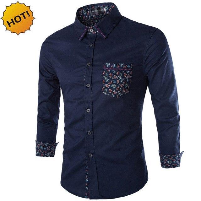 Новый 2016 Весна Осень Плюс Размер 5XL мужская Одежда Рубашка Хлопка Вышивка патч Цвет Печатных Смокинг Рубашки Мужские рубашка