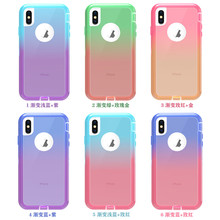 Heavy duty Color Gradient Shockproof Clear cell phone case cover For iPhone 8 plus cases XR X Xs 7 6 xs max