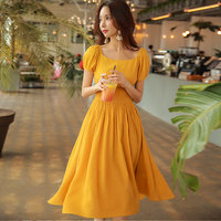 Dabuwawa high quality 2018 summer new romantic style youthful received waist was thin women lantern sleeve dress