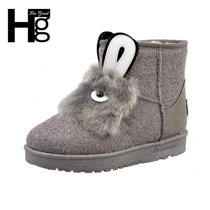 HEE GRAND Winter Thick Plush Inside Snow Boots for Girls Black Cute Faux Fur Animal Design Ankle Women Boots Size 40 XWX6161