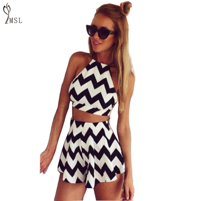 d3c1ddd3ca Sexy Summer Playsuits Women Rompers Casual Female Sleeveless Halter Crop  Top Playsuits Ladies Striped Short Jumpsuits