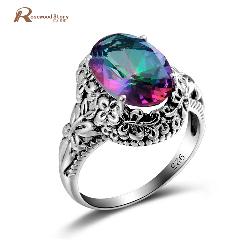 Kpop 6.7ct Ring Fire Mystic Rainbow Topaz Crystal Ring Vintage Real 925 Sterling Silver Women Wedding Ring Party Finger JewelryKpop 6.7ct Ring Fire Mystic Rainbow Topaz Crystal Ring Vintage Real 925 Sterling Silver Women Wedding Ring Party Finger Jewelry