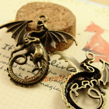 43*46MM Antique bronze/silver/gold color vintage style metal zinc alloy dragon pendant charm diy jewelry