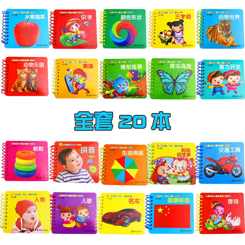 20pcs/set Kids Chinese Learning Cards Pictures Books With Pinyin English Chinese Character Book Hanzi Fruit Animal People Card
