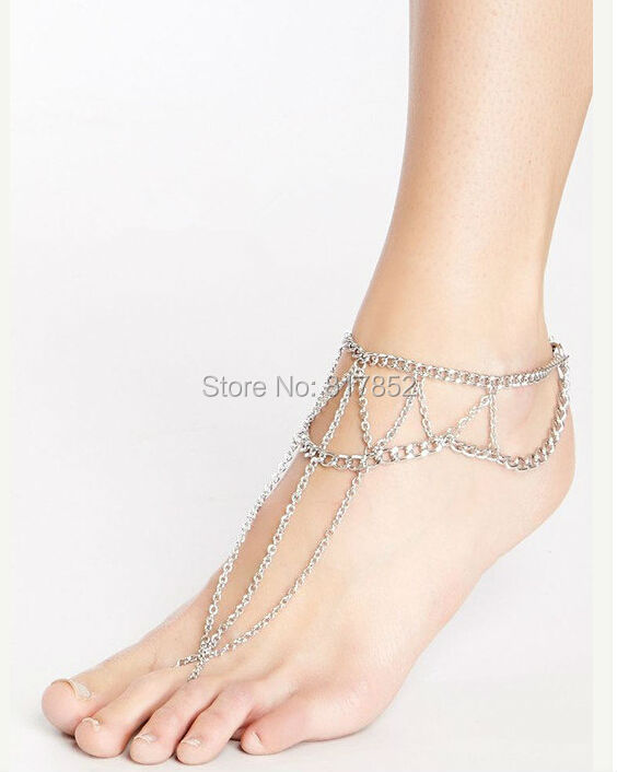 FREE SHIPPING New Style L54 Women Fashion Silver Chain Anklet Chunky Chain font b Jewelry b