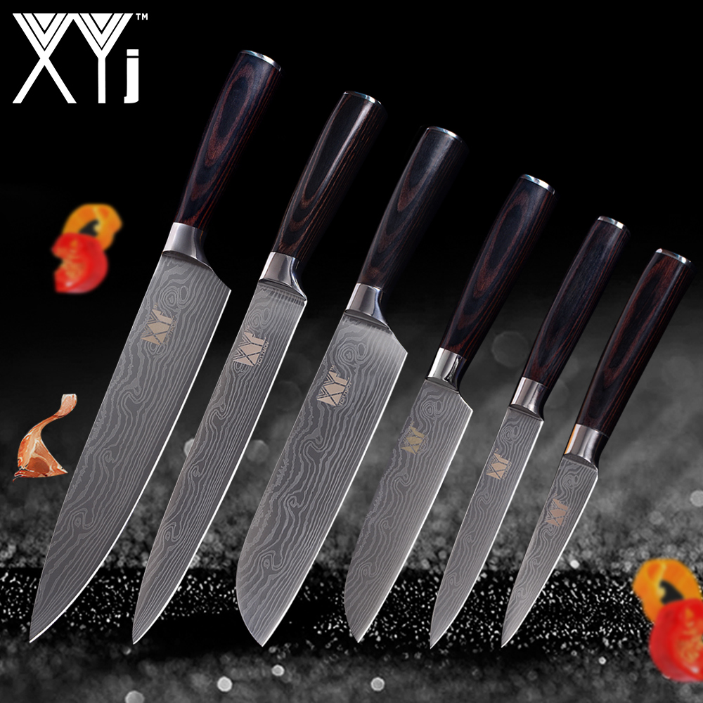 XYj Kitchen Tools 6 Pcs Kitchen Knife Set Paring Utility 2*Santoku Chef Slicing Knife Stainless Steel Kitchen Cooking Knife SetXYj Kitchen Tools 6 Pcs Kitchen Knife Set Paring Utility 2*Santoku Chef Slicing Knife Stainless Steel Kitchen Cooking Knife Set