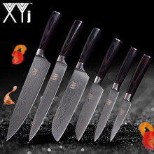 XYj Kitchen Tools 6 Pcs Kitchen Knife Set Paring Utility 2*Santoku Chef Slicing Knife Stainless Steel Kitchen Cooking Knife Set(China)