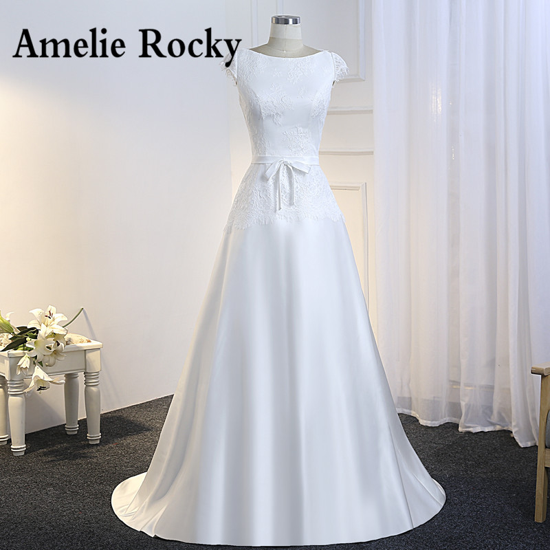 Vestido De Noiva Simples Lace and Satin Wedding Dress 2019 Cheap Bride Dress Illusion Back Floor