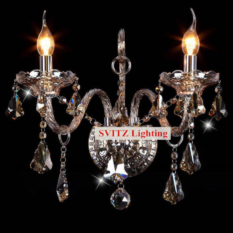 Free shipping 2 lights vintage Wall Lamp sconce Bedroom Restaurant silver candle led wall Lights fabric shade Indoor Lighting furnishings brief modern k9 crystal flower pendant light fixture european fashion home deco living room diy glass pendant lamp