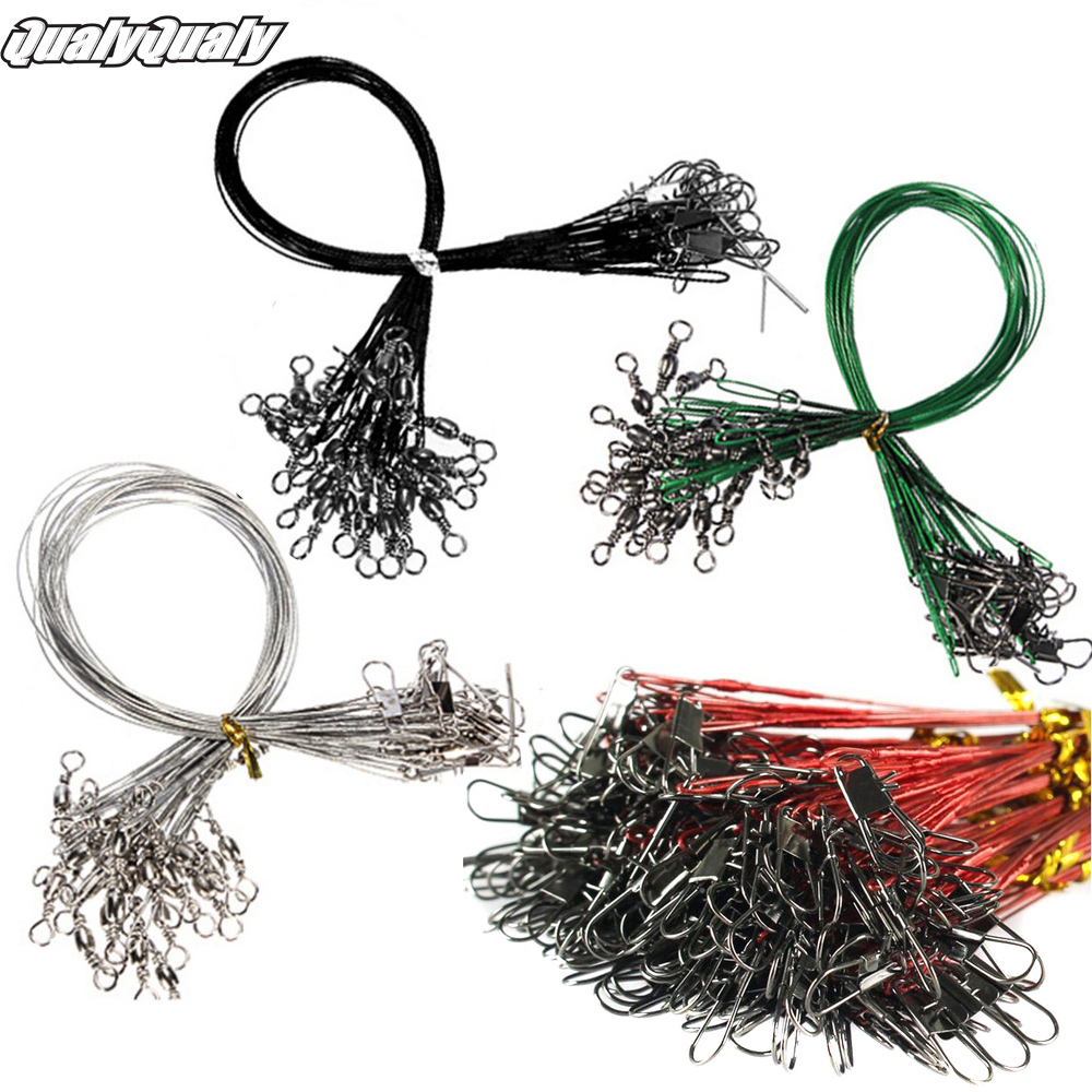 60pcs Fishing Line Steel Wire Leader With Swivel Fishing Accessory Black Sliver