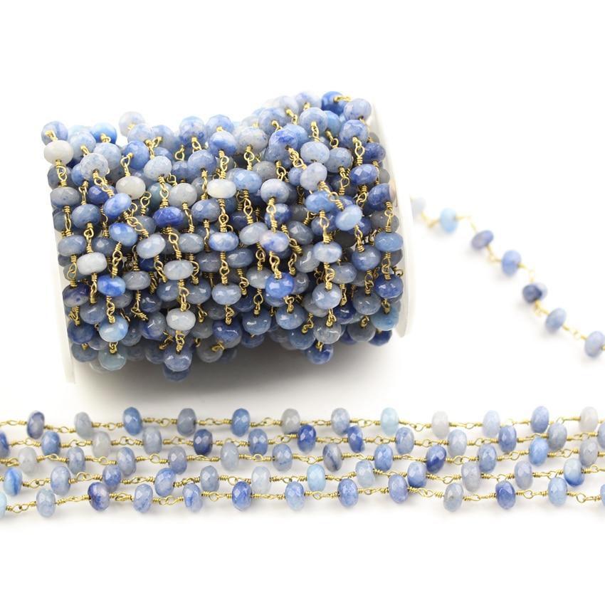 5x8mm bleu Aventurine pierres précieuses perles en vrac charmes chaînes pour collier, facettes Rondelle Aventurine fil enroulé chapelet chaînes