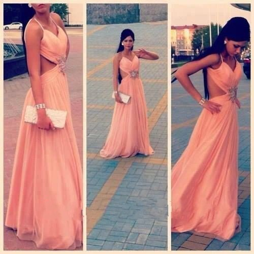 2017 Custom Made Chiffon Peach Colored Backless