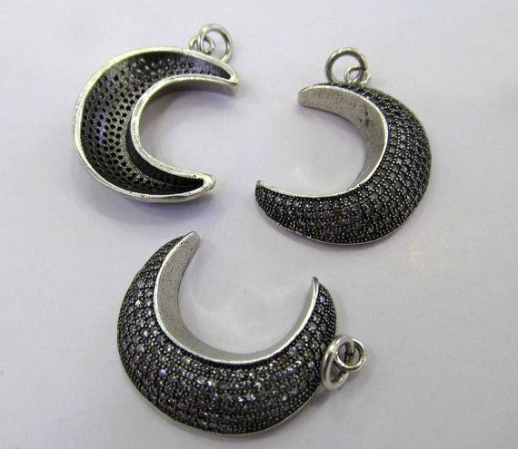 AAA 6 pièces 20-30mm Micro Pave set cubique zircone perles diamant lune corne gunmetal charme connecteur boucles d'oreilles pendentif