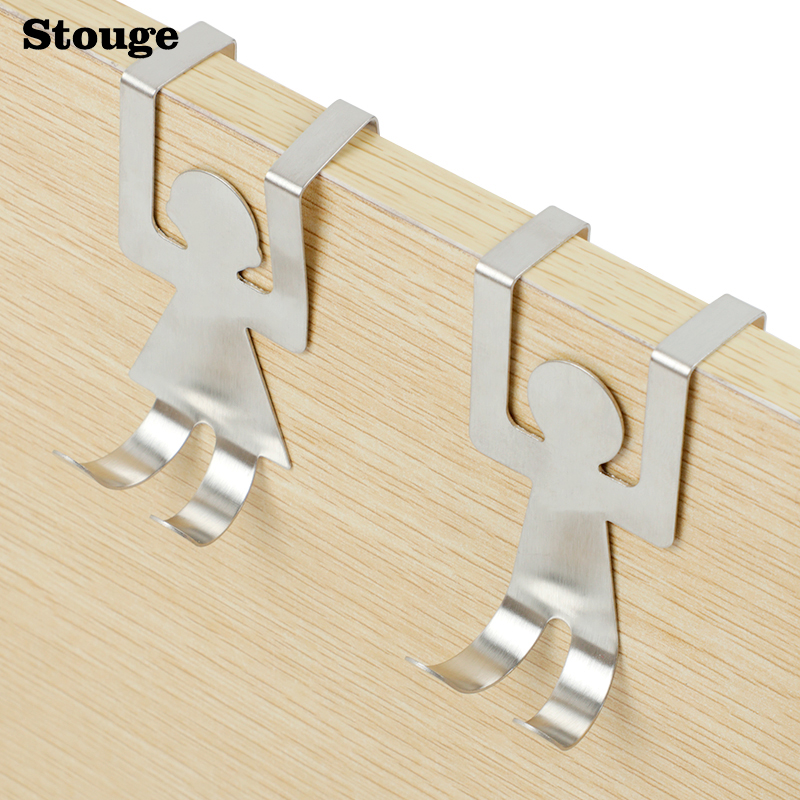 Stouge 2PCS Powerful Stainless Steel Couple Lovers Shaped Hooks Kitchen Pot Pan Bathroom Hanger Hooks Clothes Storage Rack Tool