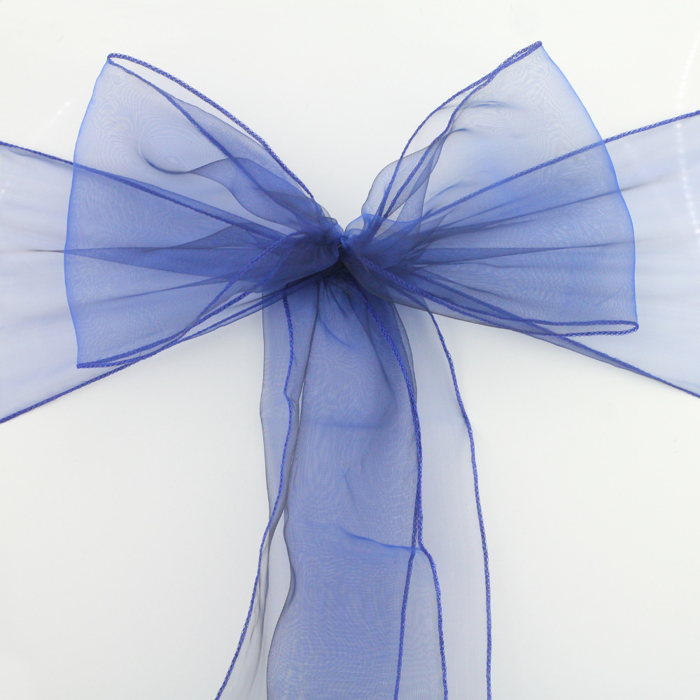 navy blue organza sash wedding decoration 200pcs wedding party decorationwedding supply best service in