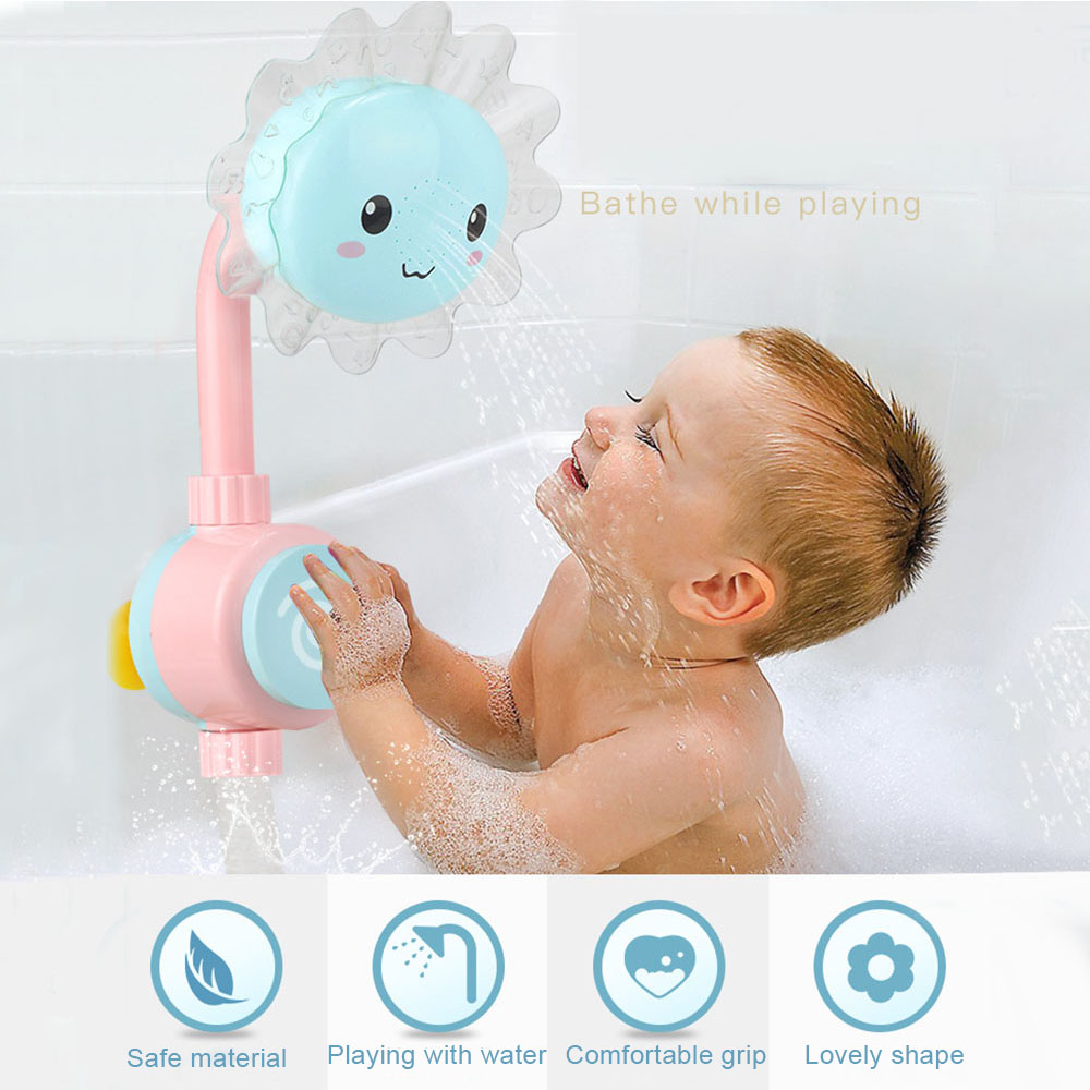 Baby Bath Toys Children Sunflower Spray Water Shower Faucet Kids Bath Toy with Box Bathroom Toys