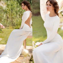 Elegant White Chiffon Velvet Jewel Back Buttons Hollow Mermaid Long Sleeve Wedding Dresses 2014 Cheap