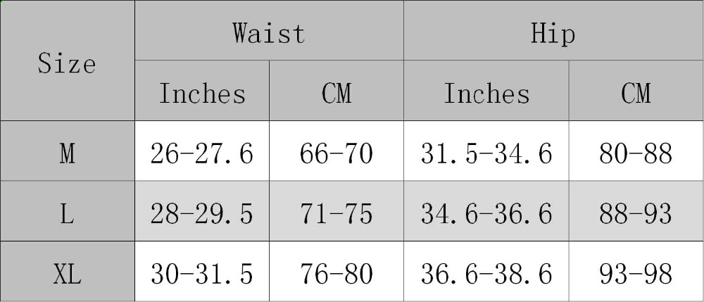Lover Beauty Shapeware Size Chart