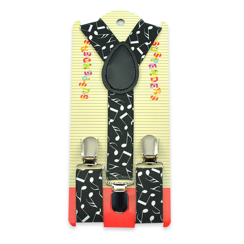 2.5cm High Quality Polyester Suspenders Children Boys Girls big Music Note Black Elastic Braces Y-back Pants Suspender Braces