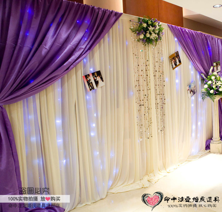 3*4m wedding ice silk fabric drapery White with Purple curtain with swag stage prop Drape with sequin Wedding Backdrop