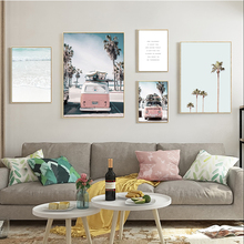 Nordic Style Beach Poster Ocean Landscape Canvas Print Pink Bus Wall Art Painting Picture For Living Room Scandinavian Unframed