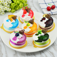 Artificial bread cake model of the circle belt trays two-color jelly fruit dessert props